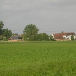 The Barn and the Farmhouse from the fields